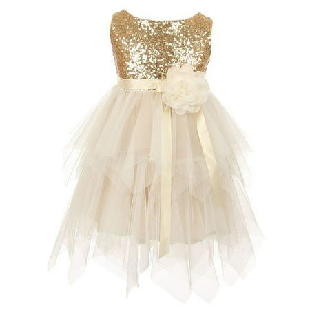 Little Girls Gold Sequined Bodice Poly Mesh Double Layered Party Dress - Little Girls Gold Dress