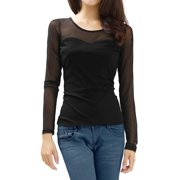 Allegra K Women's Slim Fit Mesh Tops T-Shirt Black (Size XL / 16)