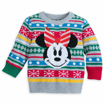 Disney Store Minnie Mouse Holiday Christmas Sweater Baby Girl Size 12-18 Month