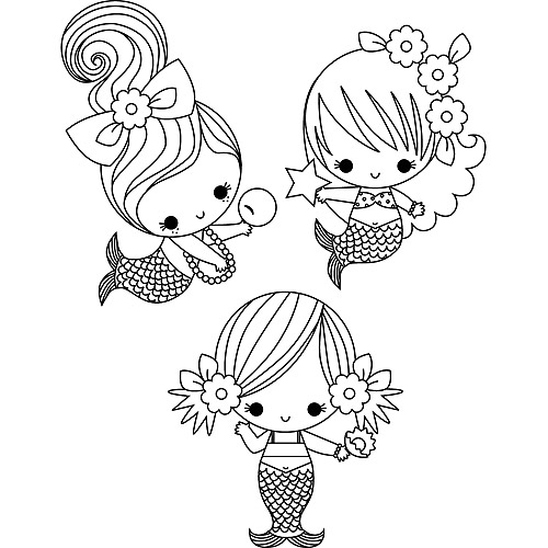 Stamping Bella Unmounted Rubber Stamp, 3 Little Mermaids Under The Sea