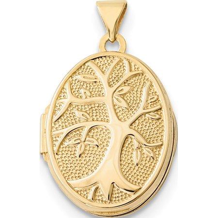 (14K Yellow Gold 21x16mm Oval Tree Locket Pendant / Charm)