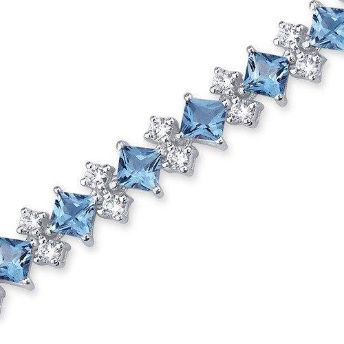 Oravo Distinctive Design 13.50 carats total weight Princess Cut Swiss Blue Topaz White CZ Gemstone Bracelet in Sterling Silver