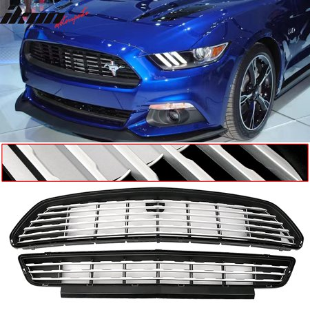 Ikon Motorsports Grille - Fits 15-17 Mustang GT/CS CA Special Front Upper Lower Grill Set Black (Grill Ca)