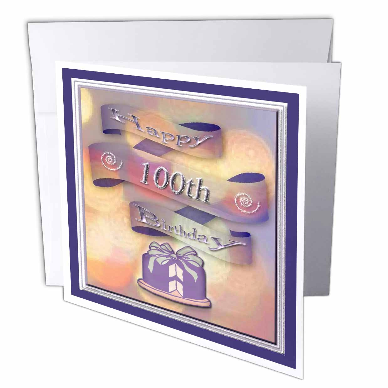 3dRose Ribbon and Cake Happy 100th Birthday, Greeting Cards, 6 x 6 inches, set of 12