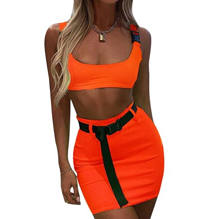 Top Political Halloween Costumes 2019 (Fancyleo 2019 Women Fashion Sexy Two Piece Set Summer Solid Color Sleeveless Crop Top And Mini Skirt Buckle Skirt Suit Including)