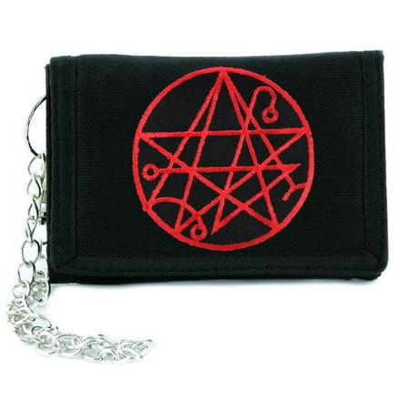 necronomicon gate alchemy symbol tri fold wallet w chain occult