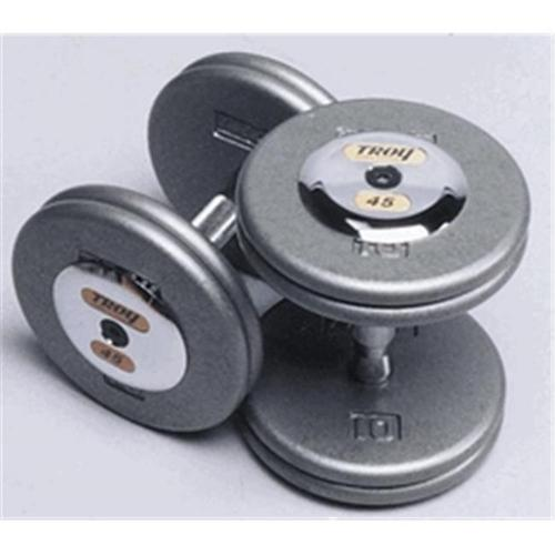 Troy Barbell HFD-030C Grey Troy Pro-Style Cast dumbbells - Chrome endcaps - 30 lbs.  - Sold as Pairs