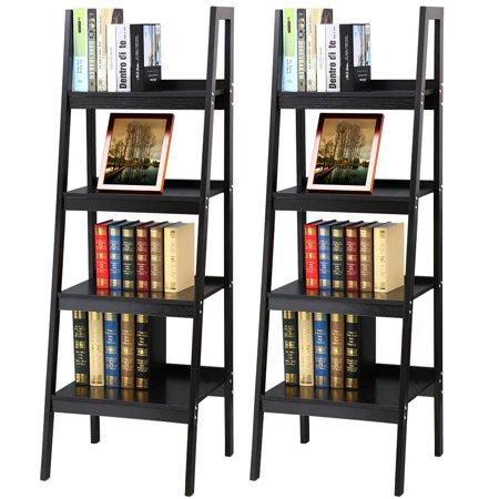 Yaheetech Pair Of 4 Shelf Black Leaning Ladder Bookcase Bookshelf Metal Corner Shelves Unit