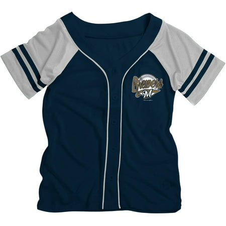 MLB Milwaukee Brewers Girls Short Sleeve Button Down Mesh Jersey