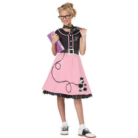 Pink and Black 1950's Style Sweetheart Girl Child Halloween Costume - Medium