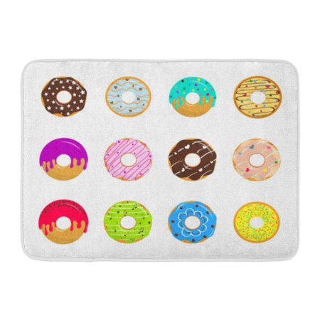 - GODPOK Pink Bake of Cartoon Glazed Sweet Donuts on White Colorful Dessert with Chocolate and Sugar Bakery Rug Doormat Bath Mat 23.6x15.7 inch
