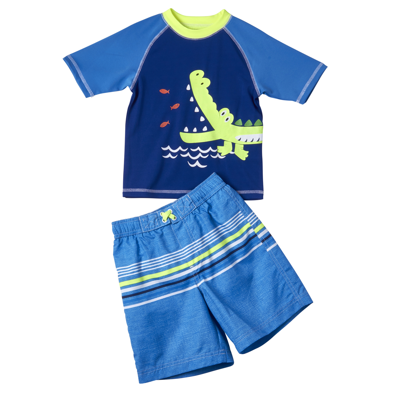 Baby Toddler Boy Aligator Rashguard & Swim Trunks, 2pc Set