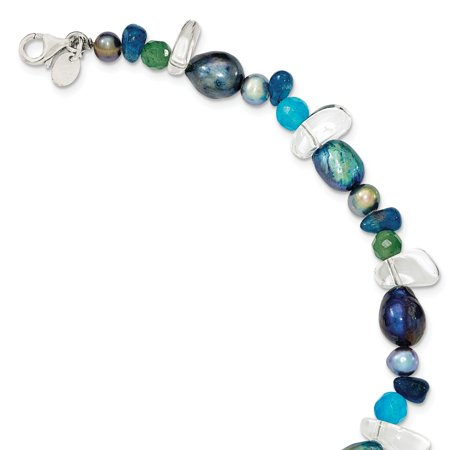 - Roy Rose Jewelry Sterling Silver Aventurine, Blue Quartz and Freshwater Cultured Pearl Bracelet 7.75'' length