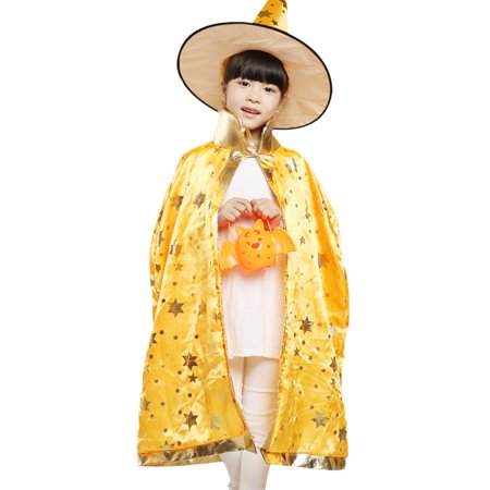 Kids Witch Wizard Cloak Hat Set Shinng Stars Pattern Halloween Role Play Cape Robe Costume for Boys Girls Yellow](Halloween Pattern)