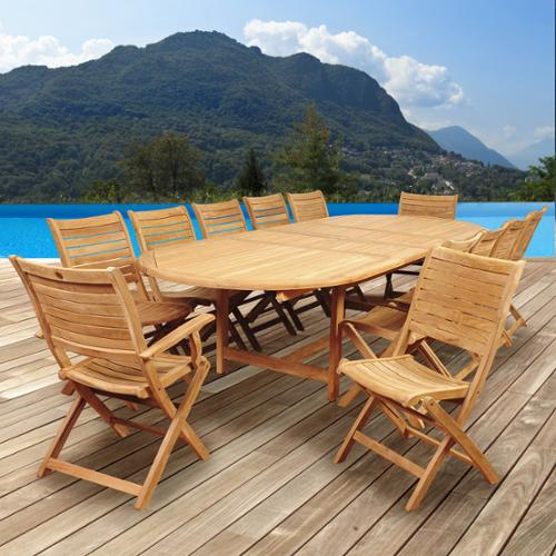 Amazonia Teak  Sessa 13-piece Teak Double Extendable Oval Patio Dining Set