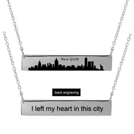City Necklaces (Personalized Sterling Silver, Gold Plated, 10k or 14k City Skyline Bar Necklace With 18 inch Link)