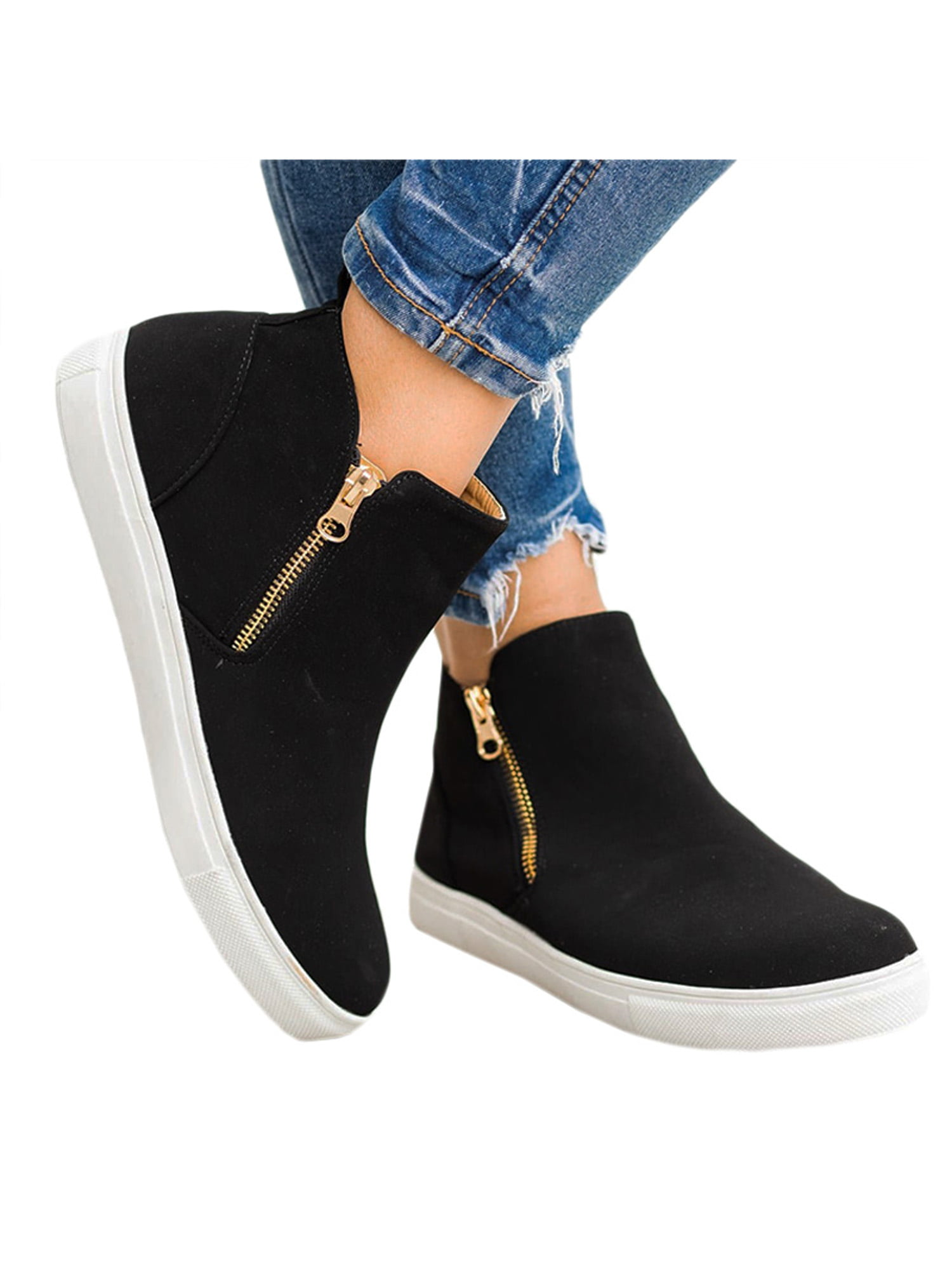 Zipper Casual Flats Slip On Ankle Boots