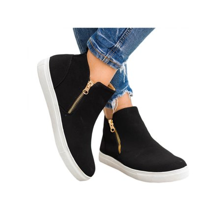 Women's Zipper Casual Flats Slip On Ankle Boots Low Top Pointed