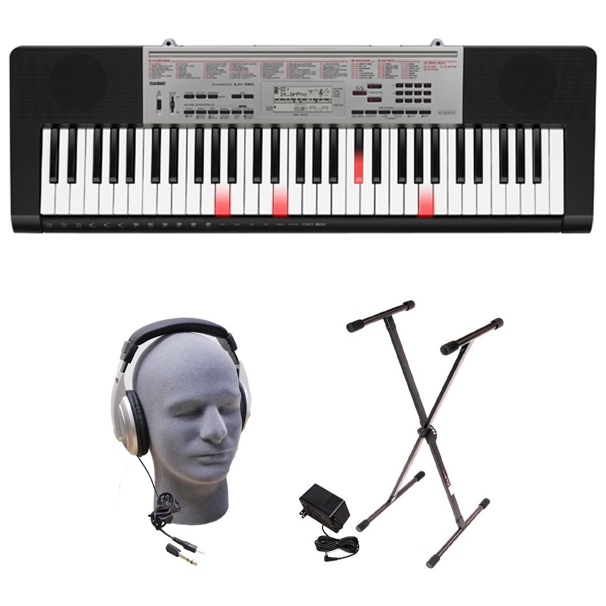 Casio LK-190 61-Key Premium Lighted Keyboard Pack with Stand, Headphones & Power Supply