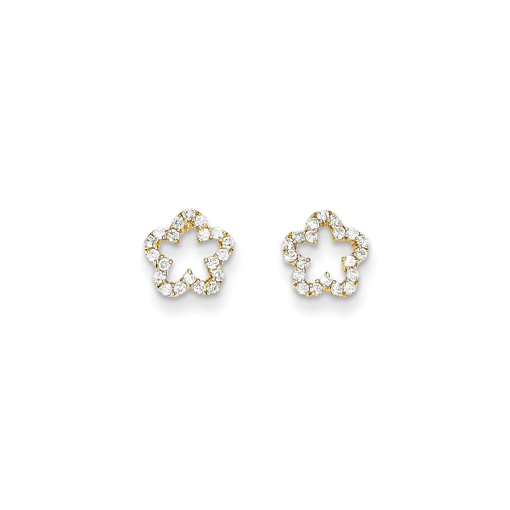 14k Yellow Gold Childs CZ Flower Post Earrings w/ Gift Box. (7.8MM)