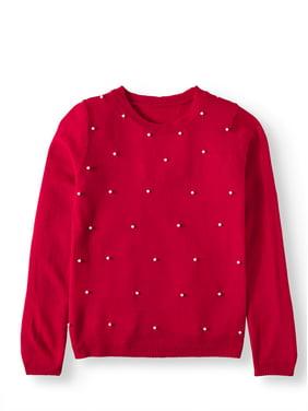 Pink Angel Pearl Embellished Sweater (Little Girls & Big Girls)