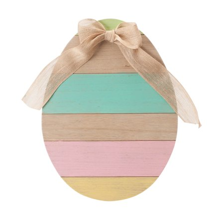"Wooden Egg Sign with Burlap Bow – Easter and Spring Home Accent Décor, 13 ¾"" Wide x 18 ¼"" High"