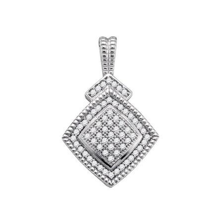 Sterling Silver Round Diamond Square-shape Womens Unique Pendant 1/5 Cttw