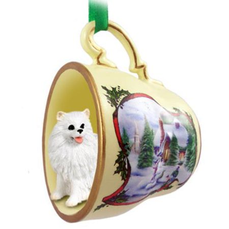HTCD83 American Eskimo Miniature Tea Cup Snowman Holiday Ornament
