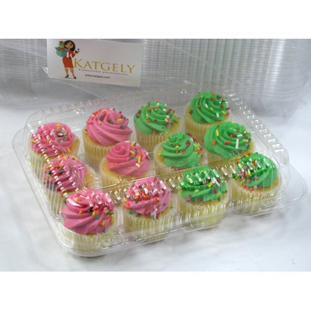 Katgely 12 Compartment Mini Cupcake Plastic Containers - 8 per PACK