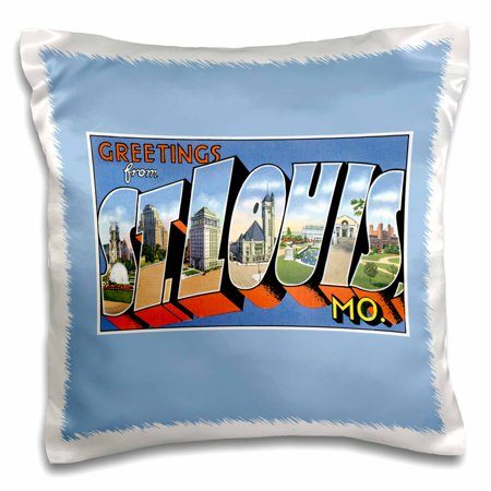 - 3dRose Greetings from St. Louis Missouri Scenic Postcard Reproduction, Pillow Case, 16 by 16-inch