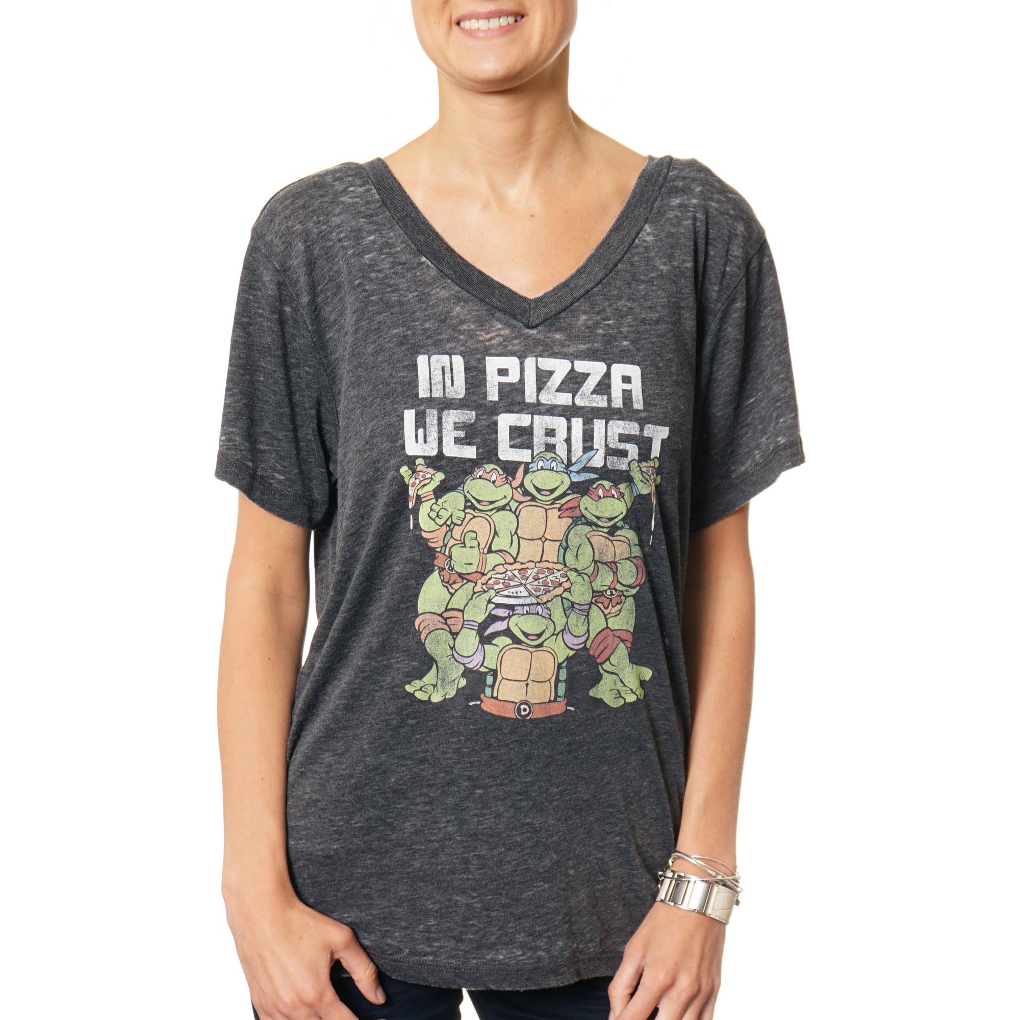 "Teenage Mutant Ninja Turtles Women's ""In Pizza We Crust"" V-Neck Graphic Burnout T-Shirt"