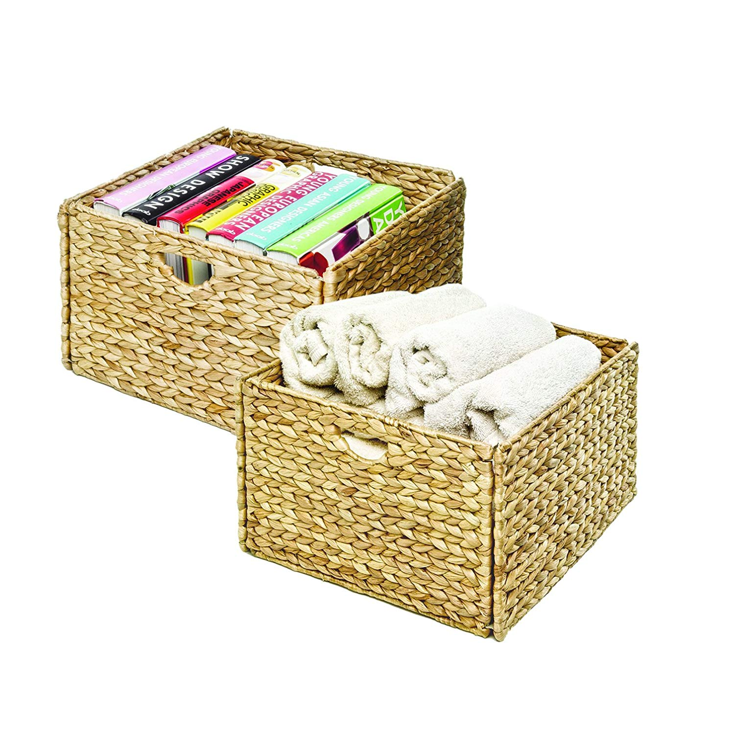 Hand-Woven Water Hyacinth Storage Baskets, 2-Pack, Dimensions: 13.25 x 13.25 x 8 H (each basket) By Seville Classics