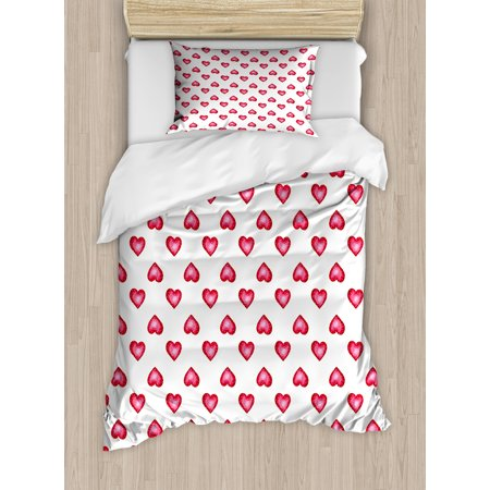 Romantic Twin Size Duvet Cover Set, Valentines Day Symbol Hearts with Little Dots Lovers Celebration Theme, Decorative 2 Piece Bedding Set with 1 Pillow Sham, White and Dark Coral, by Ambesonne