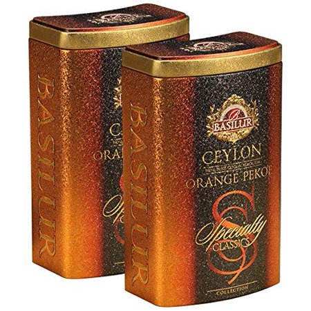 Basilur | Ceylon Orange Pekoe | Ultra-Premium Loose Leaf Black Tea | Specialty Classics Collection | Free Tea Brewing Filters inside | 100g / 3.52oz. per Tin (Pack of 2)