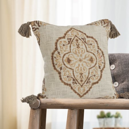Antique Floral Throw (LR Home Antique Medallion Floral Tassels Cotton Decorative Throw Pillow 18 inch )