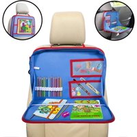 Kids Car Seat Travel Tray, Backseat iPad Or Tablet Holder, Carry Bag with Storage Organizer Mesh Pockets and Shoulder Strap, On The Go Activity Lap Desk to Play, Eat, Or A Writing Surface