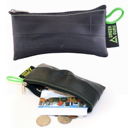 Blacklight Tube - Green Guru Recycled Zip Pouch Black Tire Tube Coin Wallet Bike Trucker Gift Smal
