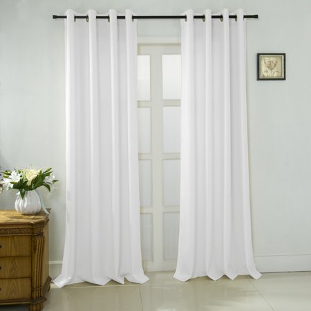 Lindsey Textured Jacquard 108 x 84 in. Extra Wide Grommet Curtain Panel Pair in White (Set of 2) ()