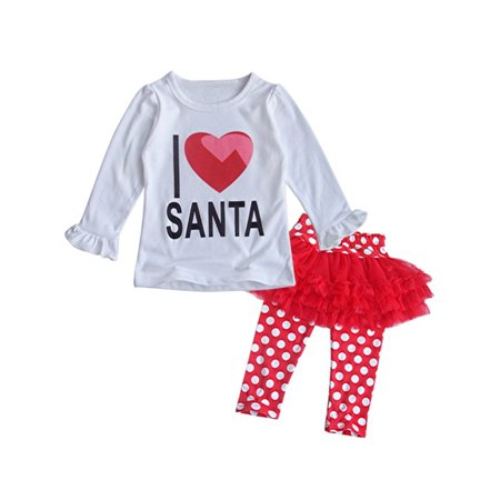 StylesILove Baby Girls I Love Santa Top and Tutu Legging Holiday Clothing Set (3-4 Years) - Baby Girl Santa Suit