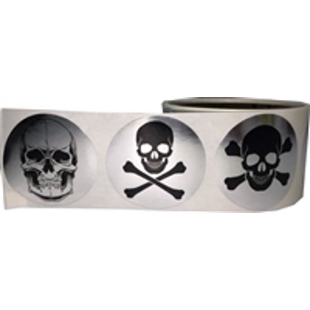 Silver Skull and Crossbones Circle Dot Stickers, 2 Inch Round, 100 Labels on a Roll - Skull And Crossbones Stickers