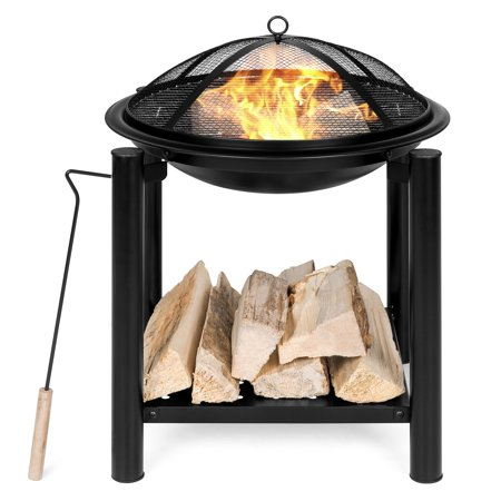 Best Choice Products 21.5in Outdoor Fire Pit Bowl Table and Storage for Patio, Backyard, Balcony w/ Shelf, Fire Spark Guard, Log Grate, Poker, Water-Resistant Cover - Black