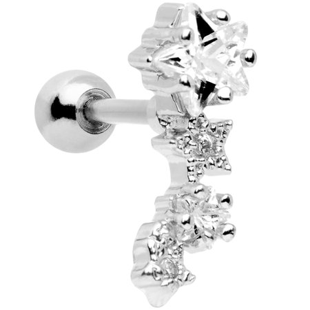 Body Candy Stainless Steel Bar Clear Accent Stars Left Cartilage Earring 16 Gauge 1/4
