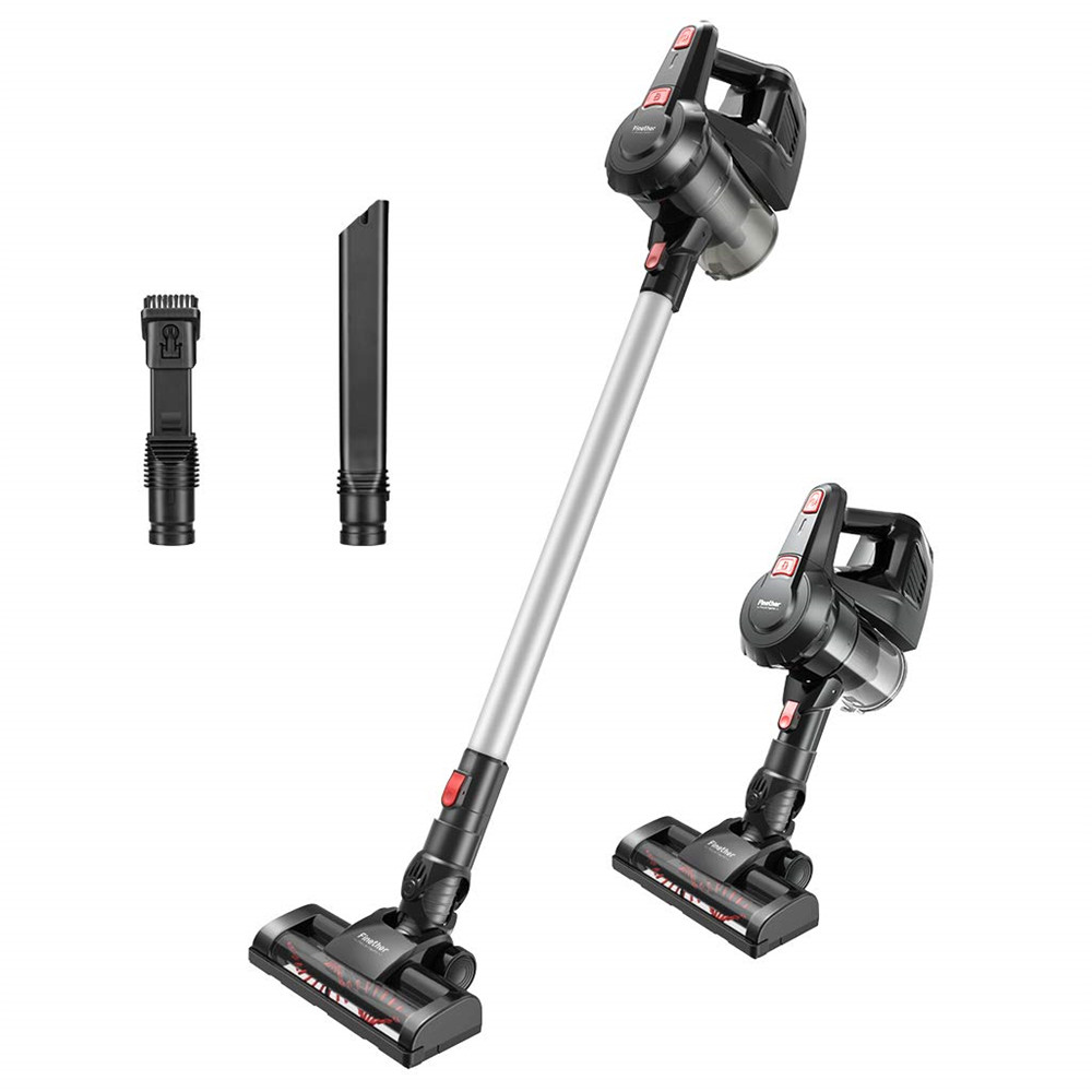 Finether Cordless Vacuum Cleaner, 2 in 1 Stick Vacuum, 7Kpa Powerful Lightweight Bagless Stick and Handheld Vacuum HEPA Filtration Wall-Mount Dust Cup 3 Different Brushes,Gary