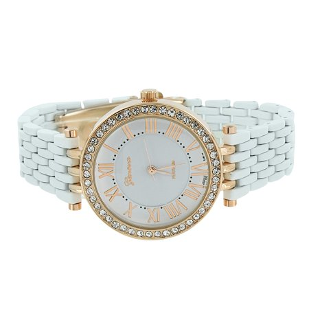 Womens White Geneva Watch Rose Gold Analog Finish Display Simulated Diamonds Brand New On Sale