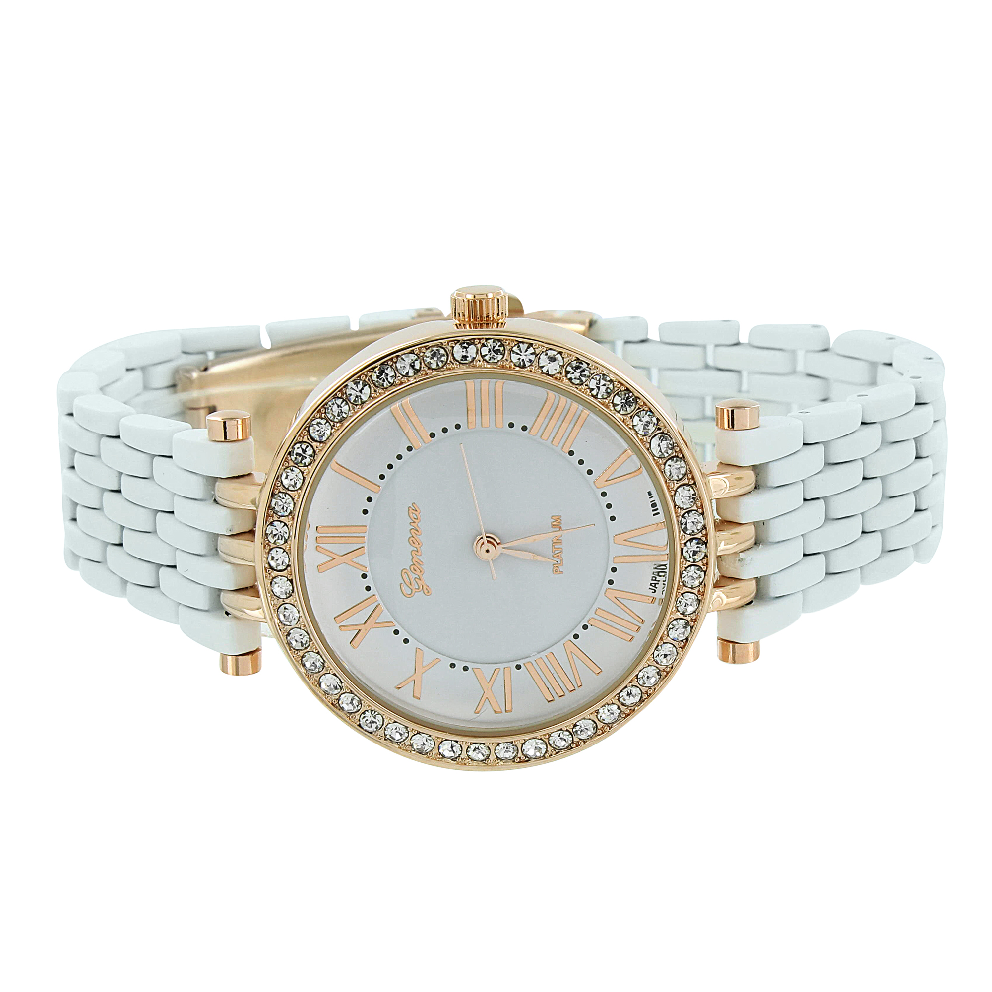 Womens White Geneva Watch Rose Gold Analog Finish Display Simulated Diamonds Brand New On Sale