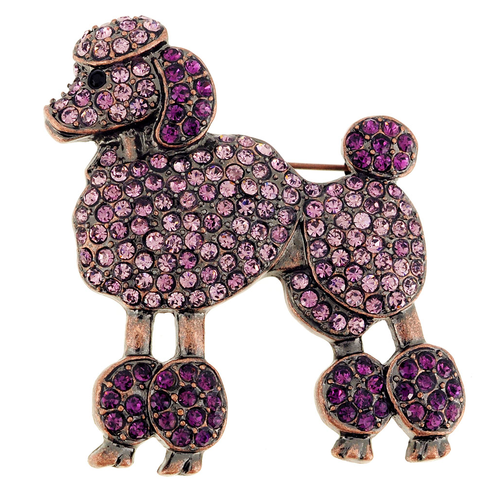 Purple Poodle dog Amethyst Crystal Pin Brooch by
