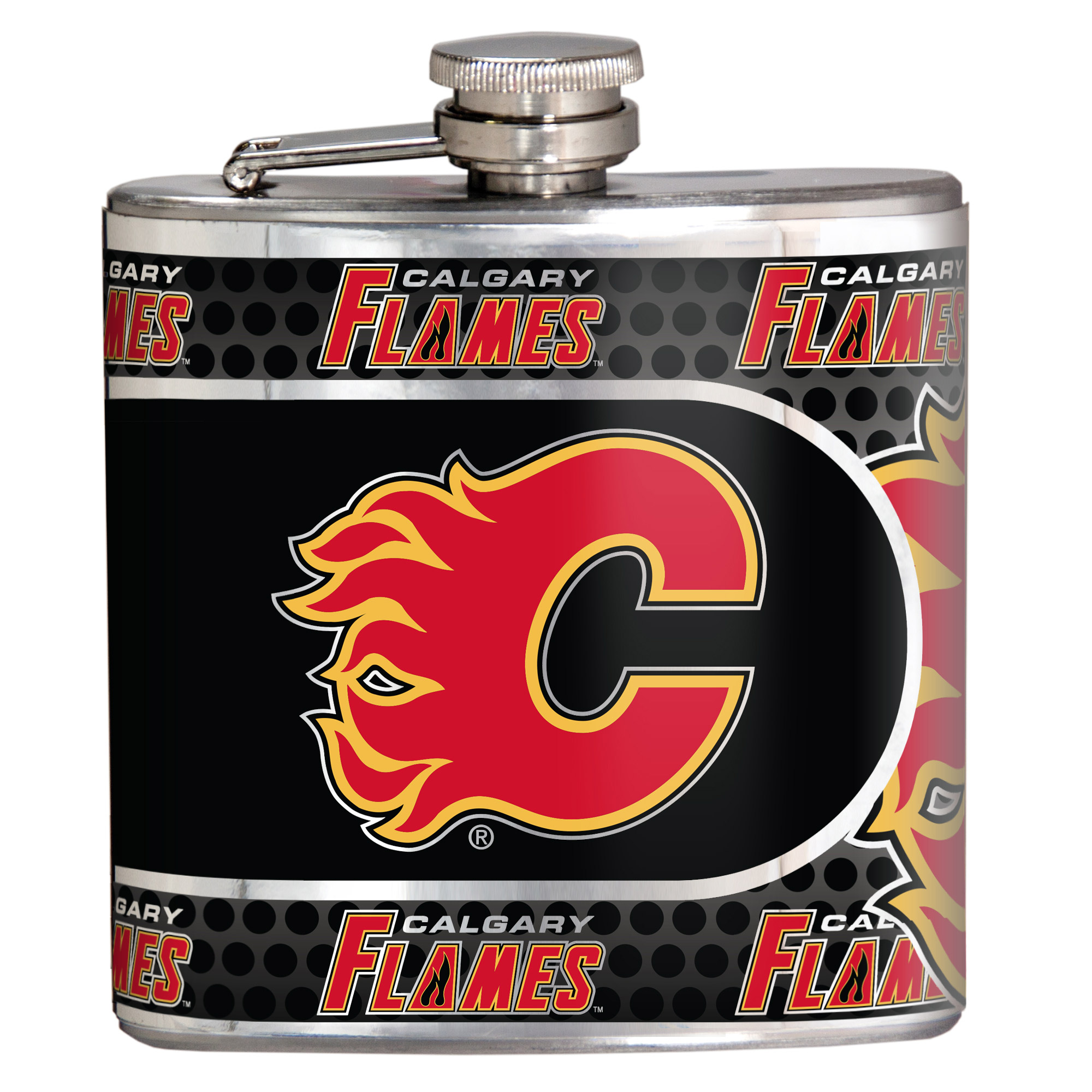 Calgary Flames 6oz. Stainless Steel Hip Flask - Silver - No Size