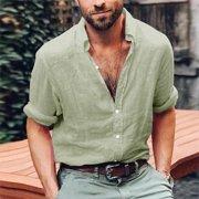 Summer Mens Cotton Blend T Shirt Henley Tops Casual Loose V Neck Long Sleeve Tee