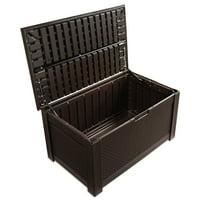 Rubbermaid Patio Chic Deck Box Storage Bench, Dark Teak