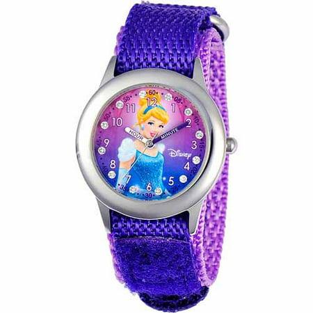 Disney Cinderella Girls' Stainless Steel Watch, Purple Strap
